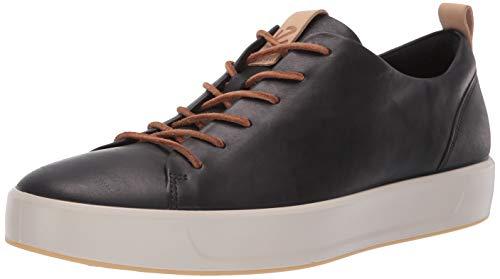 ECCO Men's Soft 8 Tie Fashion Sneaker, Black/Powder