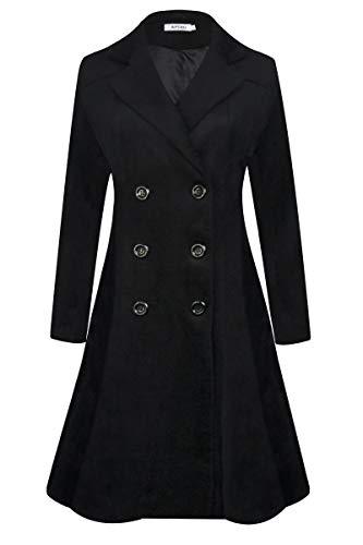 APTRO Women's Winter Trench Coat Long Lapel Double Breasted Wool