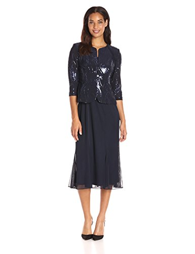 Alex Evenings Women's Tea Length Mock Dress