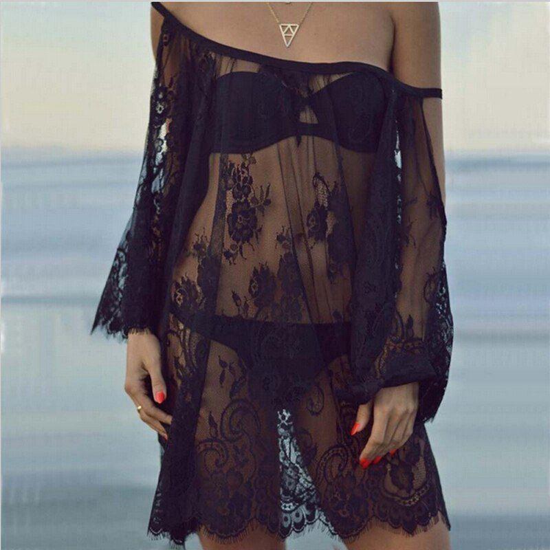 Plus Size Women Summer Dress Fashion Half Sleeve Loose Lace Dress