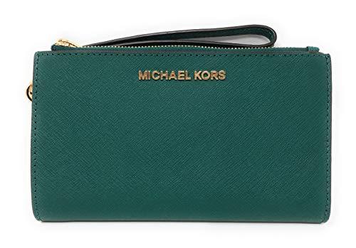 Michael Kors Jet Set Travel Double Zip Saffiano Leather Wristlet Wallet