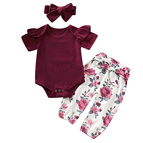 3PCS Infant Toddler Baby Girl Summer Clothes Ruffle Romper Top Bodysuit