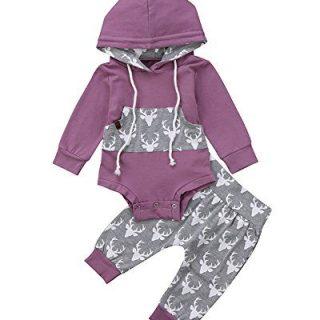 Newborn Baby Boy Girl Long Sleeve Deer Romper Pullover Hooded Tops Pants