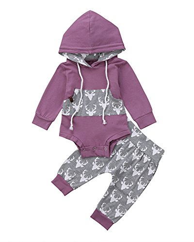 Newborn Baby Boy Girl Long Sleeve Deer Romper Pullover Hooded Tops Pants