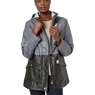 Carhartt Women's Waterproof Rainstorm Coat, Black, Medium