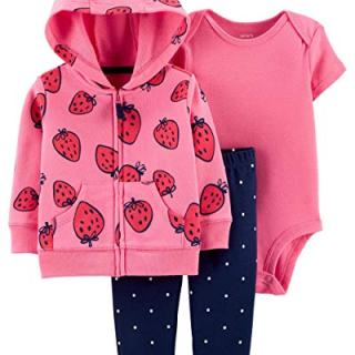 Carter's Baby Girls 3 Piece Bodysuit Pant Little Jacket Set
