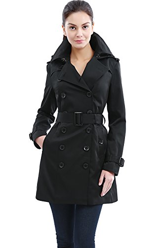 BGSD Women's Madison Hooded Waterproof Mid Length Trench Coat