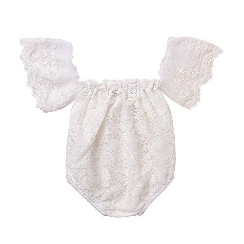 Mikrdoo Newborn Infant Baby Girl Flower White Lace Off Shoulder Romper