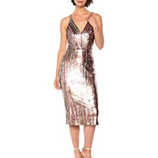 Dress the Population Women's Margo Sleeveless Sequin Stretch Midi Dress