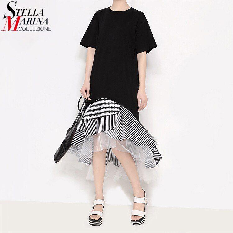 19 Women Summer Black Trumpet Dress Patchwork Ruffles Striped