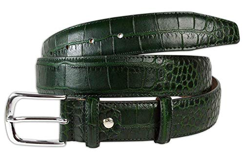 Pasquale Cutarelli Mens Crocodile Pattern Italian Leather Belt Green