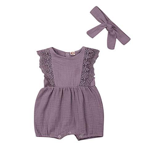 Newborn Infant Baby Girl Lace Sleeve Linen Romper Jumpsuit Sleeveless