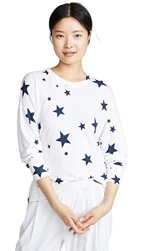 SUNDRY Women's Star Crew Neck Sweatshirt,