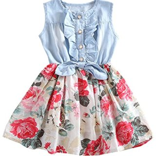 Baby Girls Dresses Lemon Flower Printed Bowknot Skirt Dress White