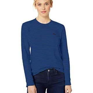 Lacoste Women's Long Sleeve Crewneck Interlock Cotton Sweatshirt