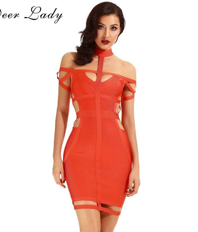 Deer Lady Bandage Dress Party Dresses Elegant Ladies