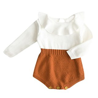 Eiffel Direct Baby Girls Sweet Knitted Fleece Romper Long Sleeve