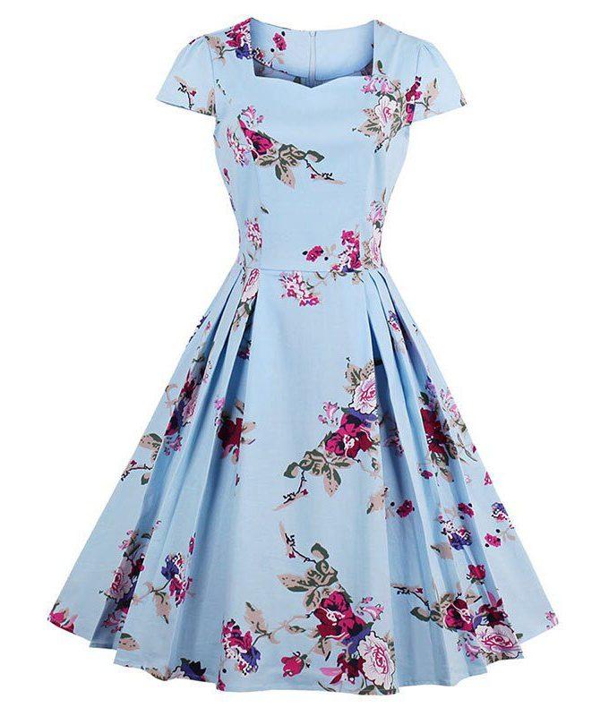 Sisjuly Women Summer Floral Dress Print Expansion Dresses