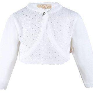 Lilax Baby Girls' Knit Long Sleeve One Button Closure Bolero