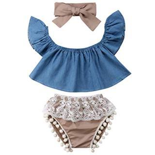 Imcute Cute Baby Girls Short Sleeve Blouse Tube Top+High Waist
