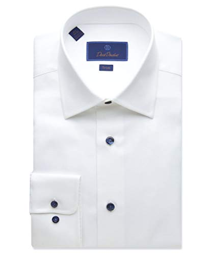David Donahue Trim Fit Micro Textured Dress Shirt