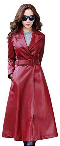 Elezay Women's PU Leather Slim Fit Long Coat Maxi Jacket