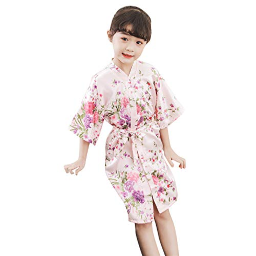 Willsa Girls Pajamas, Cute Toddler Baby Kid Floral Silk Satin Kimono