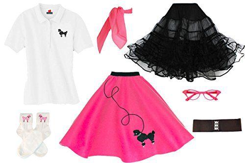 Hip Hop 50s Shop Adult 7 Piece Poodle Skirt Costume Set