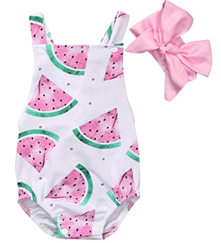 CANIS Baby Girls Watermelons Print Backless Ruffle Bodysuit
