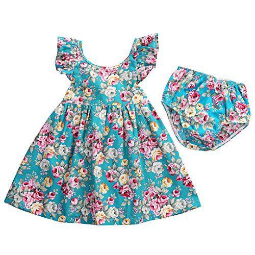 GRNSHTS Baby Girls Flower Print Ruffles Dress Set