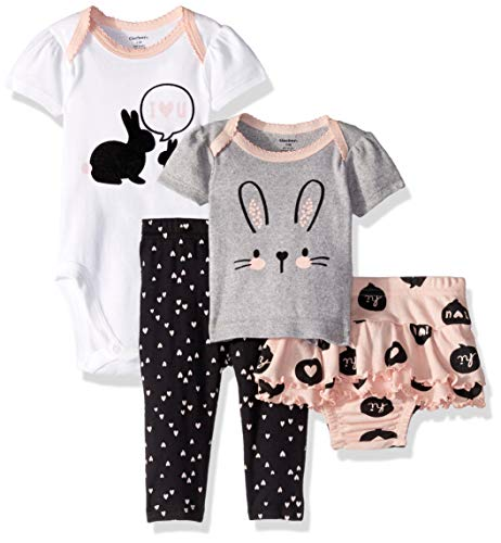 Gerber Baby Girls 4-Piece Shirt, Bodysuit, Pant and Skirted Ruffle Panty