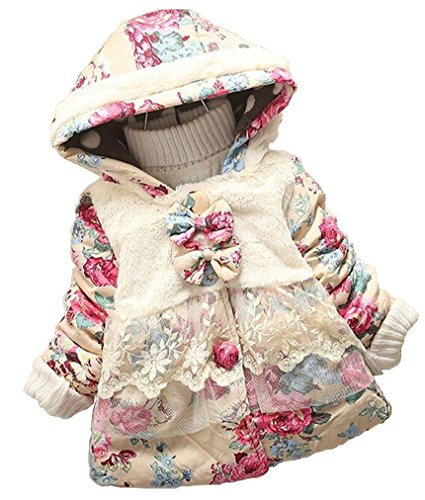 Baby Girl Floral Bowknot Thickened Warm Jacket Winter Coat