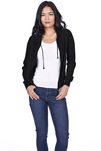 State Cashmere Women's 100% Pure Cashmere Full Zipper Hoodie