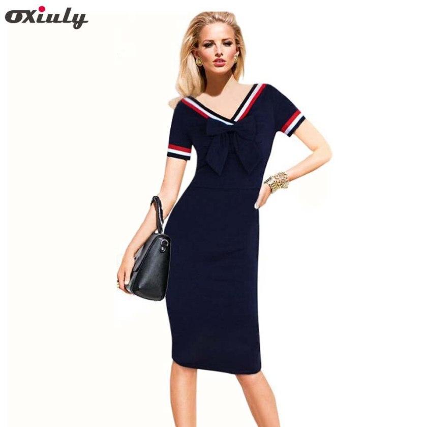 Oxiuly Summer Dress Casual Women Dress Navy Blue Short Sleeve