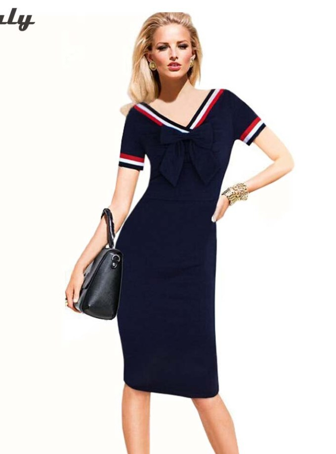 Oxiuly Summer Dress Casual Women Dress Navy Blue Short Sleeve