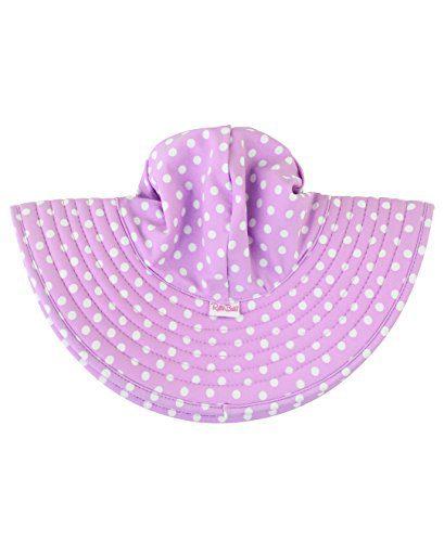 RuffleButts Baby/Toddler Girls Lilac Polka and Stripe Reversible Swim Hat