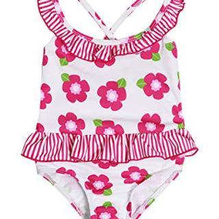 Baby Girl Swimsuit Floral Ruffle Bikini Striped Bathing Suit
