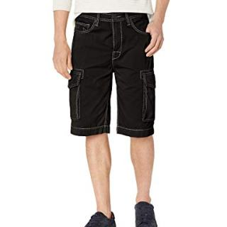 True Religion Men's Cargo Short, Jet Black