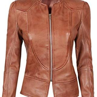 fjackets Womens Brown Amy Leather Jacket for Womens