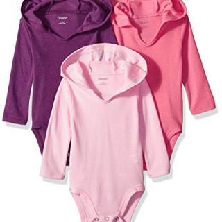 Hanes Ultimate Baby Flexy 3 Pack Hoodie Bodysuits