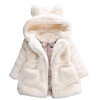 Baby Little Girls Winter Fleece Coat Kids Faux Fur Jacket
