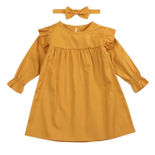 BabiBeauty Baby Girl Solid Ruffle Long Sleeve Casual Dress