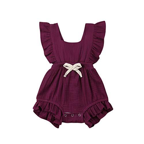 Infant Newborn Baby Girl Romper Ruffle Bowknot Bodysuit Jumpsuit