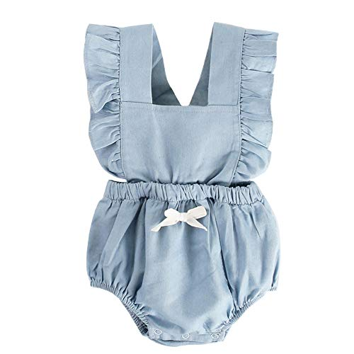 BubbleColor Baby Girl Romper Ruffle Sleeve Jumpsuit Playsuit One Piece