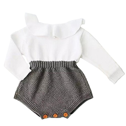 Urkutoba Baby Girls Romper Knitted Ruffle Long Sleeve Jumpsuit Baby Kids