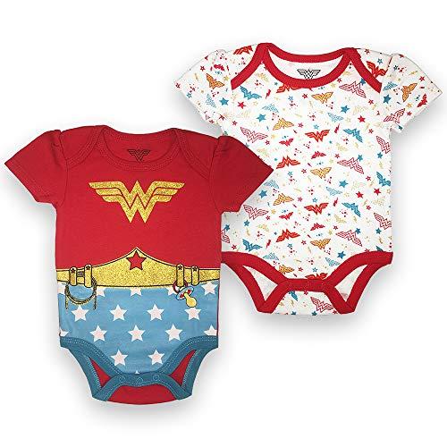 Wonder Woman Baby Girls Newborn Infant 2 Pack Snap Bodysuit