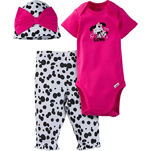 Gerber Baby-Girls Newborn 3 Piece Bodysuit Cap and Legging Set