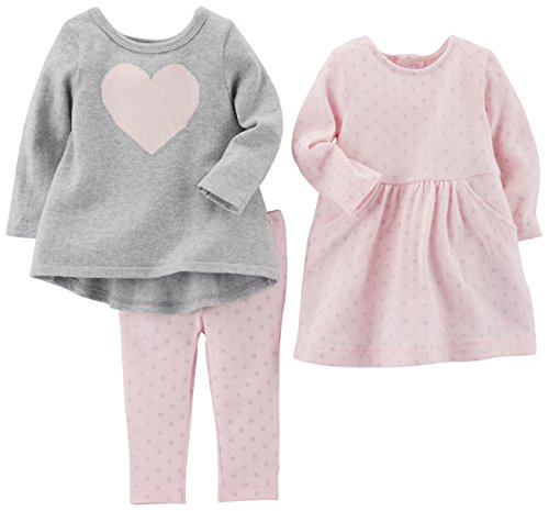 Carter's Baby Girls' 3-Piece Playwear Set, Pink Heart, 3 Months