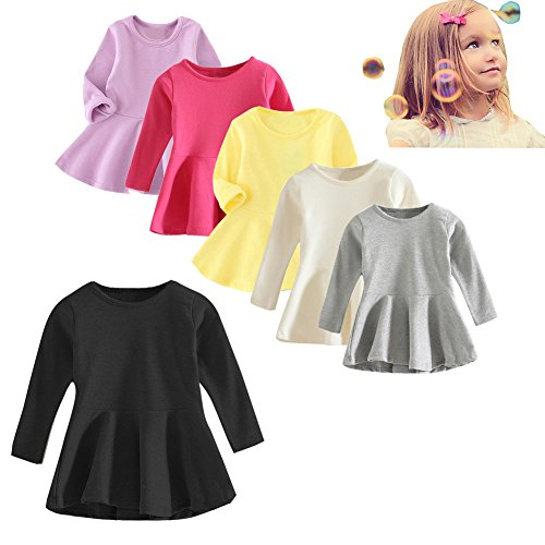 XUNYU Baby Girls Dress Long Sleeve Infant Tops Cotton Toddler Blouse