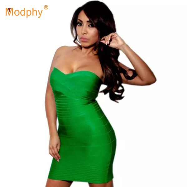 19 new women's strapless bandage dress sexy red bodycon mini dress